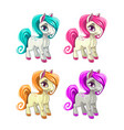 cute cartoon little horses vector image vector image
