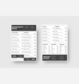 design front and back pages menu for a vector image vector image