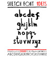 English handwriting alphabet figures vector image vector image