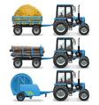Farm Tractor with Baler and Trolley vector image vector image