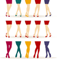 female legs with colorful shoes vector image