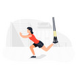 fit woman working out on trx doing bodyweight vector image vector image