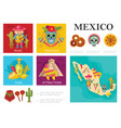 flat travel to mexico concept vector image vector image