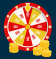 fortune wheel golden coins casino gambling game vector image