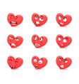 funny cartoon character emotions hearts 3d vector image