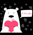 funny cute polar bear with heart valentine s day vector image vector image