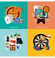 Gambling games 4 flat icons square vector image vector image