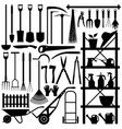gardening tools silhouette a large set of vector image vector image