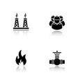 gas industry drop shadow black icons set vector image