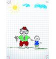granddad and grandson together holding hands vector image vector image