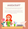 handicraft colorful poster cute artistic woman vector image vector image