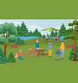 happy family barbecue party bbq and people on vector image vector image