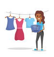 laundry equipment and woman doing a domestic job vector image vector image
