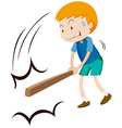Little boy hitting something with wooden stick vector image vector image