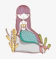 little mermaid cute cartoon vector image vector image