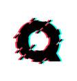 logo letter q glitch distortion diagonal vector image