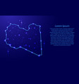 map libya from the contours network blue luminous vector image vector image