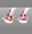 milk splash with berry fruits realistic vector image vector image