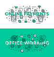 Online Payments and Office Working related icons vector image