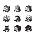 pallets with containers for different goods vector image vector image