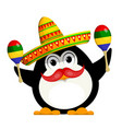 penguin with a maracas and a sombrero cartoon vector image vector image