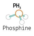 PH3 phosphine molecule vector image vector image