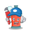 plumber aerosol spray can character cartoon vector image vector image