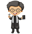 Priest holding bible and cross vector image