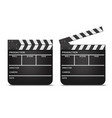 realistic detailed 3d movie clapperboards set vector image vector image