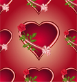 Seamless texture hearts with roses red background vector image
