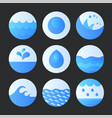 set abstract flat water icons vector image