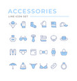 set color line icons accessories vector image vector image