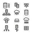simple set of database server line icons vector image vector image
