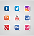 social media icons set stickers vector image vector image