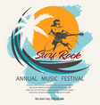 summer rock music festival poster in retro style vector image