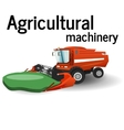 The combine is harvesting the agricultural vector image