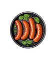 top view of four grilled sausages on frying pan vector image vector image