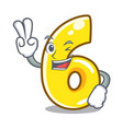 two finger cartoon number six on the road vector image