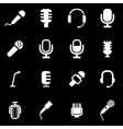 white microphone icon set vector image vector image