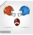American Football game helmets and ball teams vector image