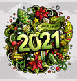 2021 hand drawn doodles new year vector image