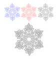 a set of contours of the fantasy of snowflakes vector image