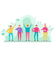 birthday party group people celebrating vector image vector image