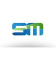 blue green sm s m alphabet letter logo vector image vector image