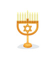 candlestick with nine burning candles and star of vector image