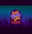 casino is a neon sign neon logo emblem gambling vector image vector image