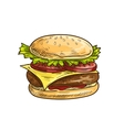 Cheeseburger fast food sketch icon vector image vector image