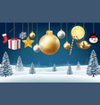 christmas hanging decorative on a winter hill vector image vector image