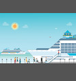 cruise ship anchored at sea port with cruise vector image vector image