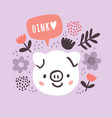 cute little pig circle on pink vector image vector image